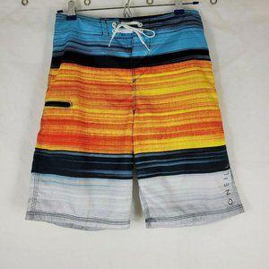 Oneill Boys Board Shorts Color Block Stripe